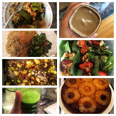Chinese food, green juice, smoothies, veggies, and yummy pineapple upsidedown cake