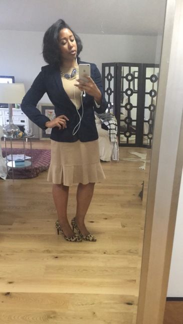 J Crew blazer, dress and jewelry, Banana Republic leopard pony hair heels