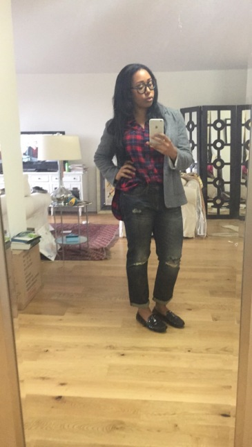 Stitch Fix Stylist Pick: Grey boyfriend blazer, ripped boyfriend jeans, J Crew men's flannel shirt and J Crew burgundy velvet slippers