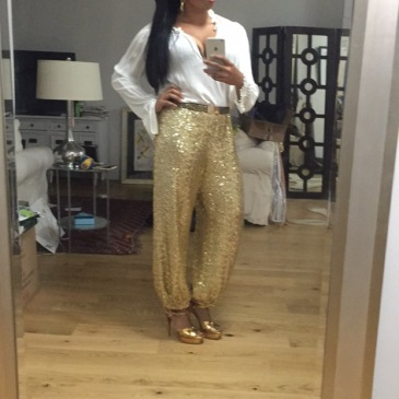 Fall Ball: Custom Ralph Lauren gold sequin pants, Elizabeth and James blouse, YSL Tributes