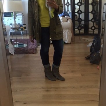 Banana Republic sweater, hat, and scarf, NYD jeans, J Crew shearling boots, and vintage army jacket
