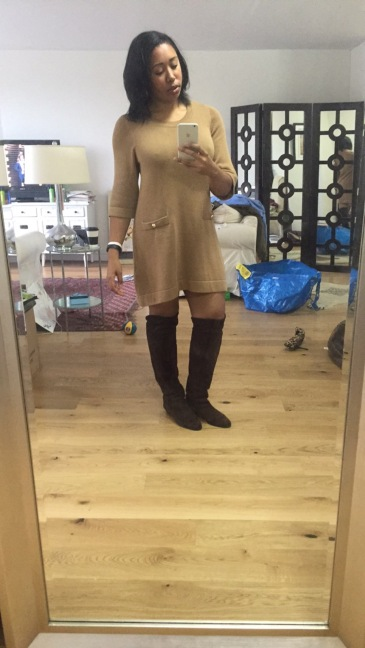 H&M knit dress, vintage boots